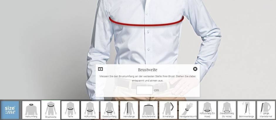 Tailor Store Maßprofil
