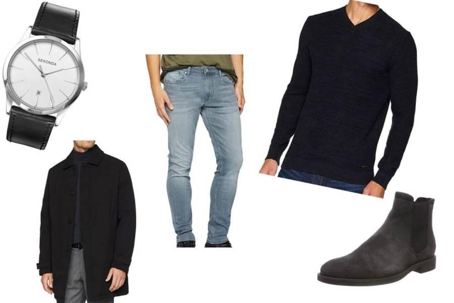 Leger lässiger Look mit Armbanduhr, heller Jeans zu dunkler Jacke und Pullover mit passenden Boots