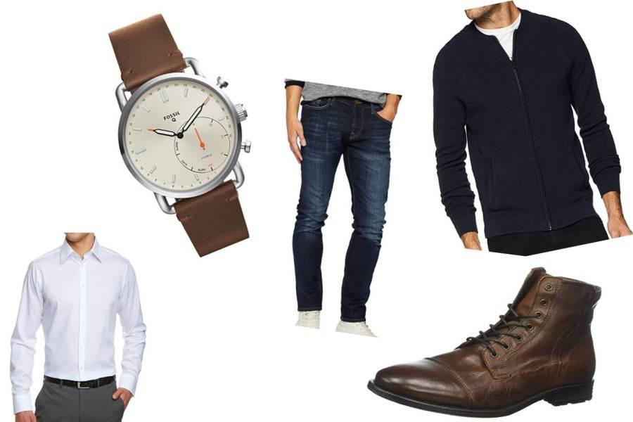 Dunkle Jeans und Pullover treffen auf helles Hemd und derbe Boots, dazu eine Armbanduhr
