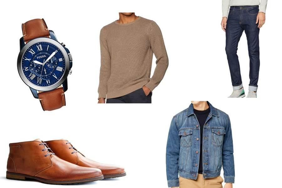 Jeans und Jeansjacke kombiniert mit Boots und Pullover ergeben ein stylisches Outfit